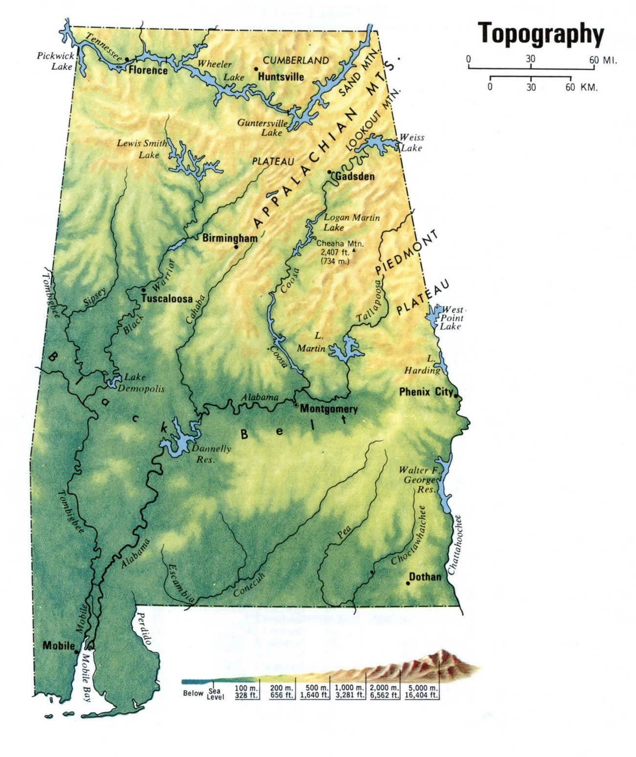 Alabama Topography Map | Large and Attractive Topographic Map of Alabama