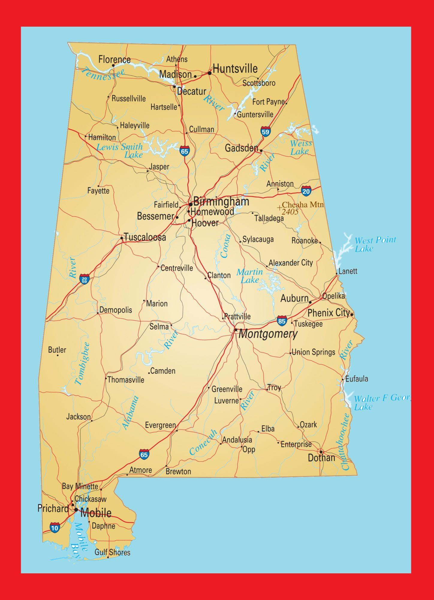 Alabama Large Transport Map | Transport Map of Alabama