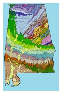 Alabama Geographical old ancient Large map United States. Describe Environment