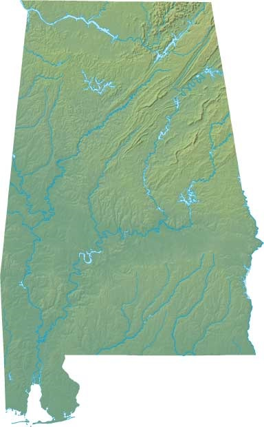 Alabama State Geographical topographical Map | United States