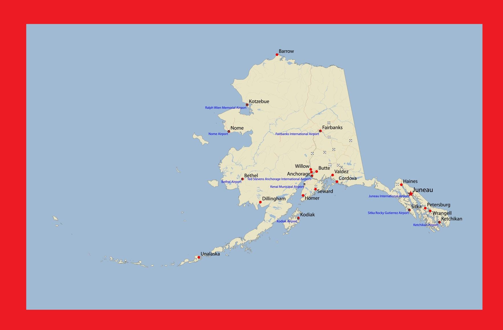 Alaska Detailed Map |  Detailed Map of Alaska Large Printable