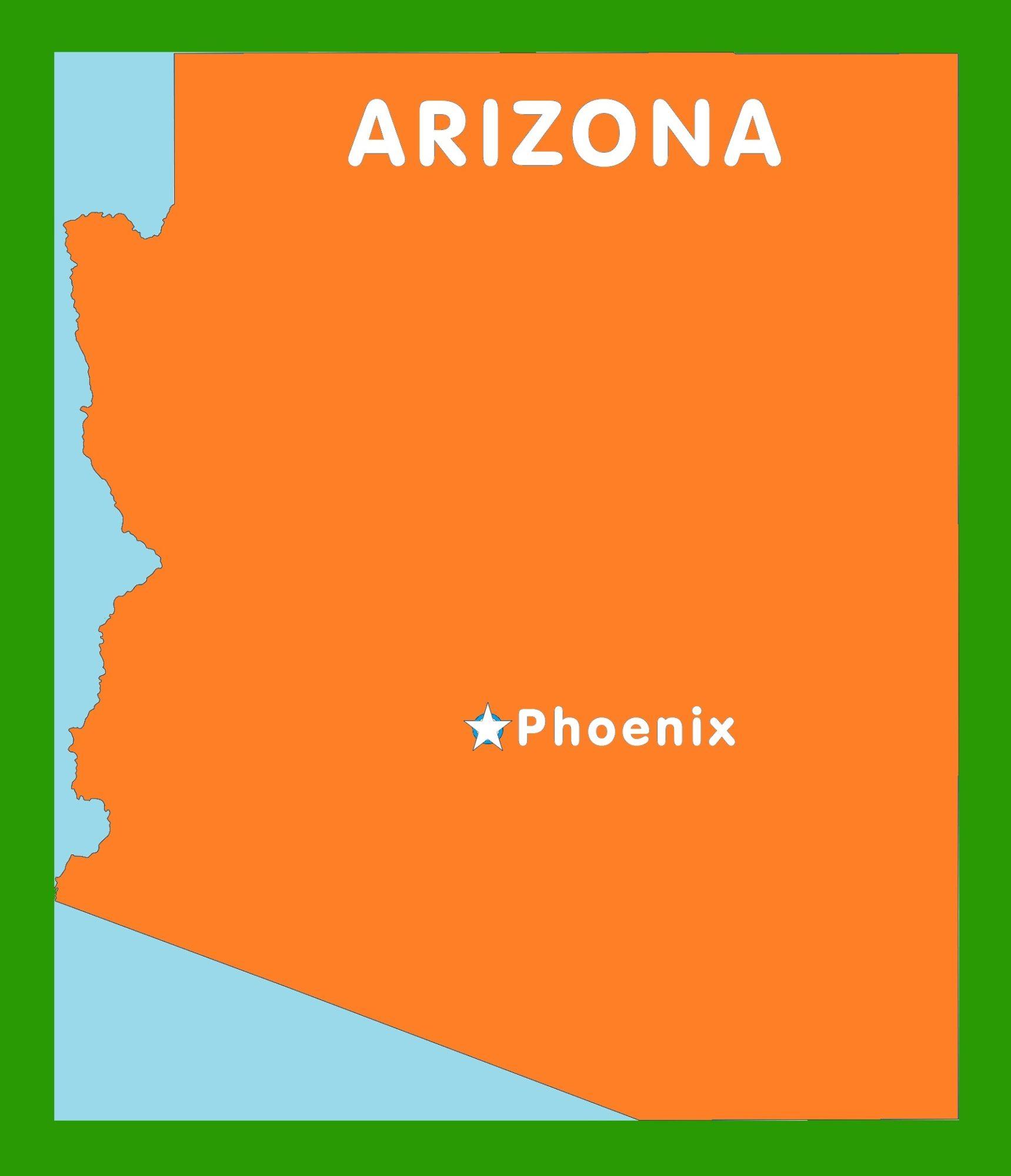 Arizona Capital Map | Large Printable and Standard Map