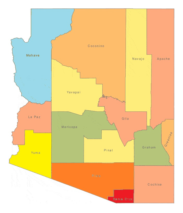 Arizona County Map | Large Printable and Standard Map