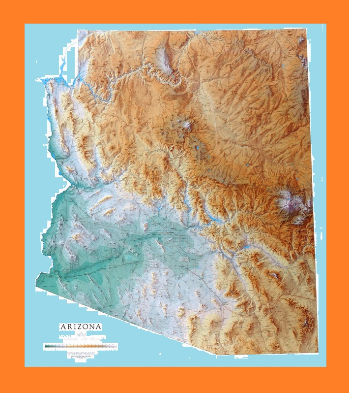 Arizona Geographical Map | Large Printable and Standard Map