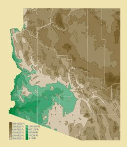 Arizona Physical Map | Large Printable and Standard Map