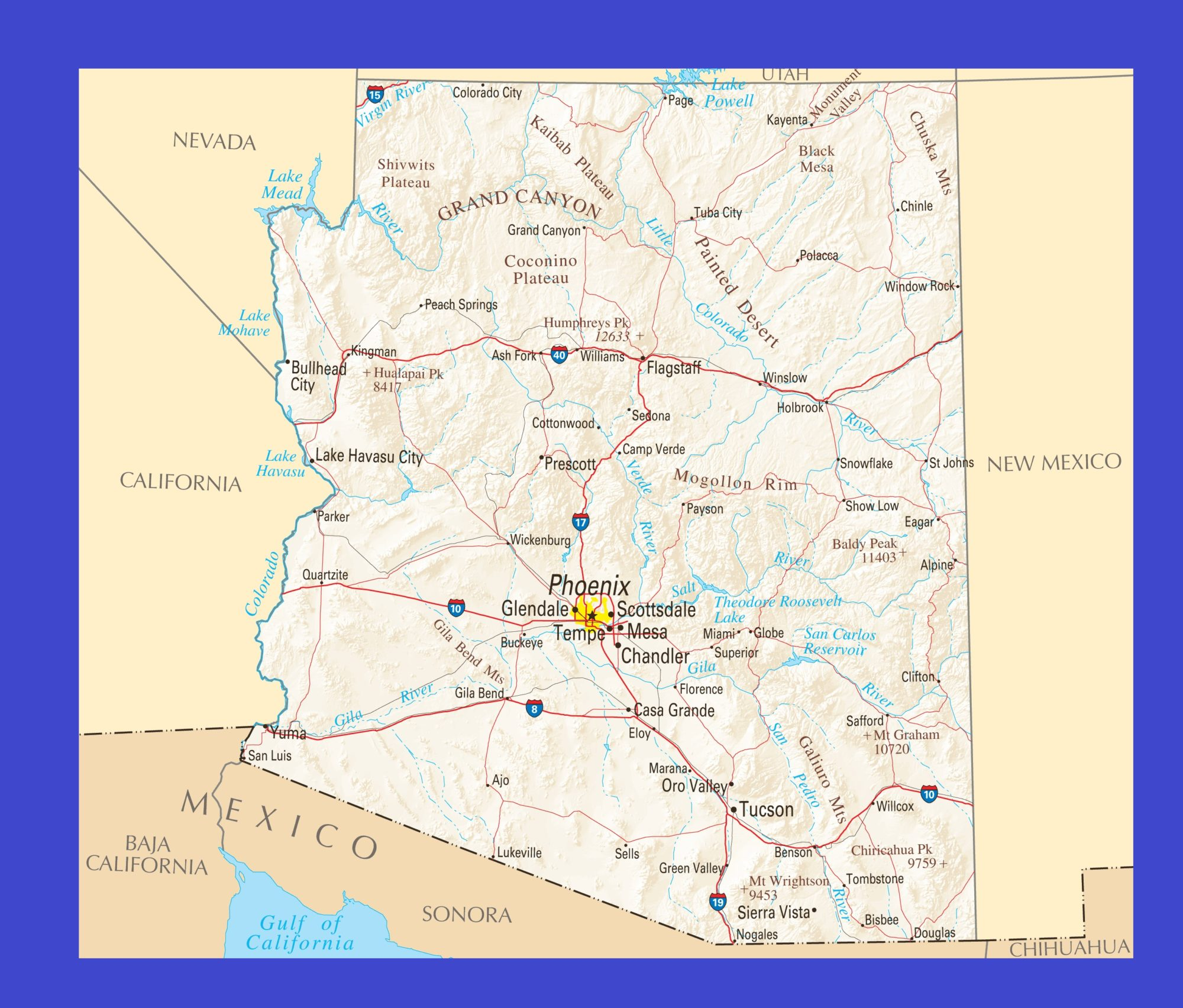 Arizona Political Map | Large Printable and Standard Map