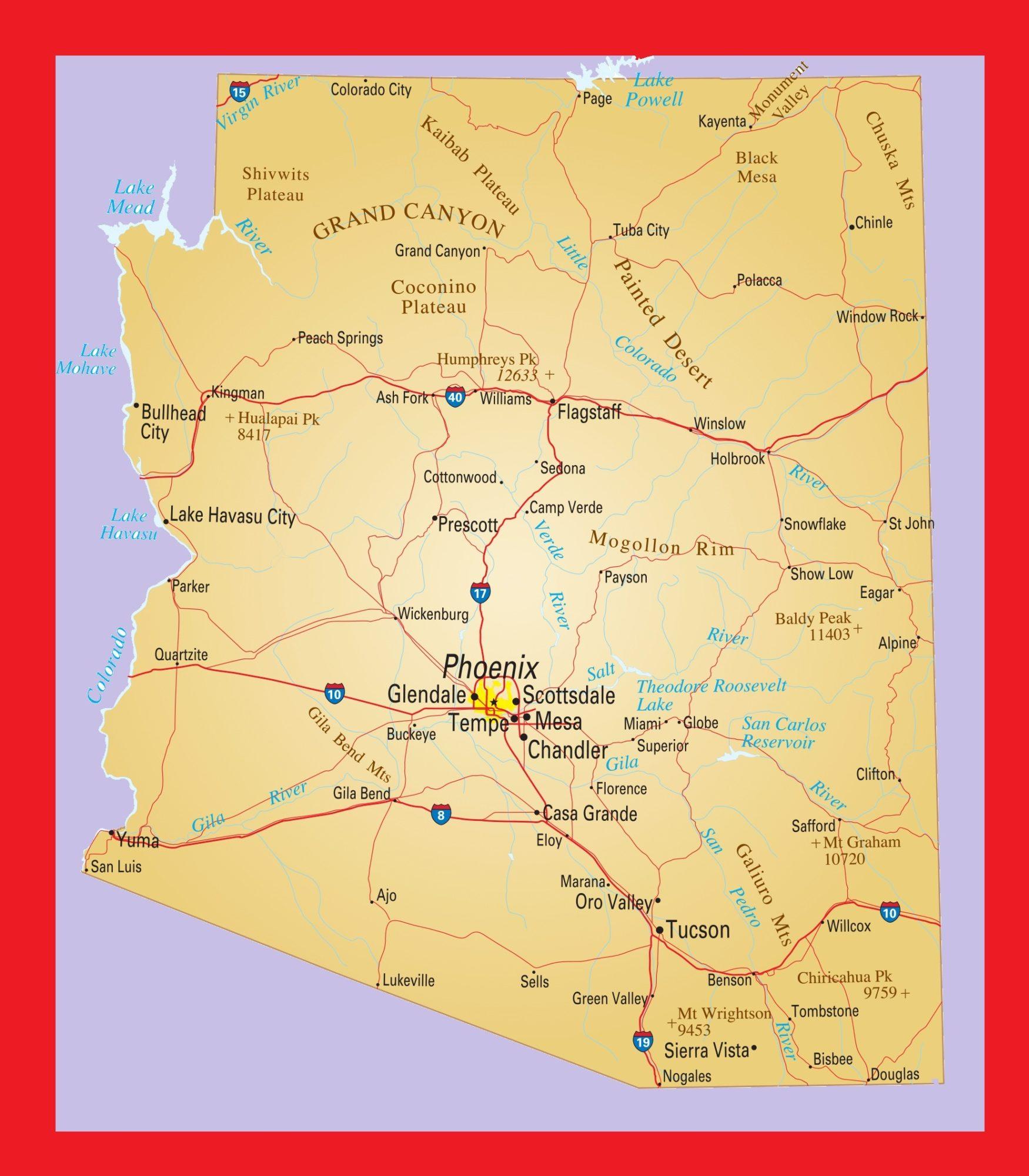 Arizona Political Map   Large Printable and Standard Map 3