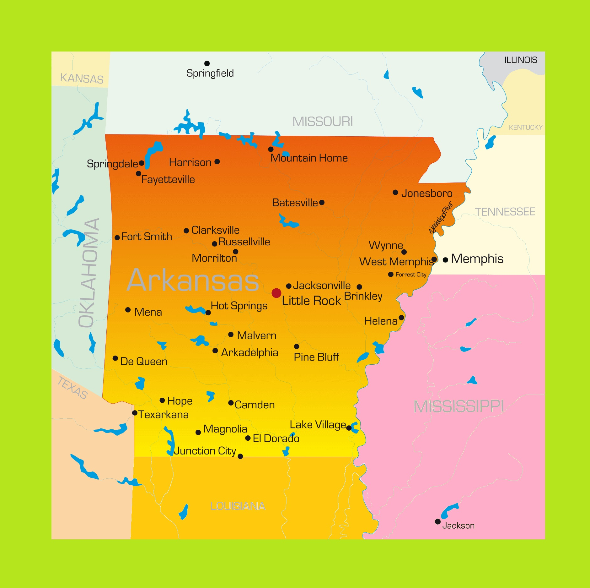 Arkansas Details Map | Large Printable and Standard Map