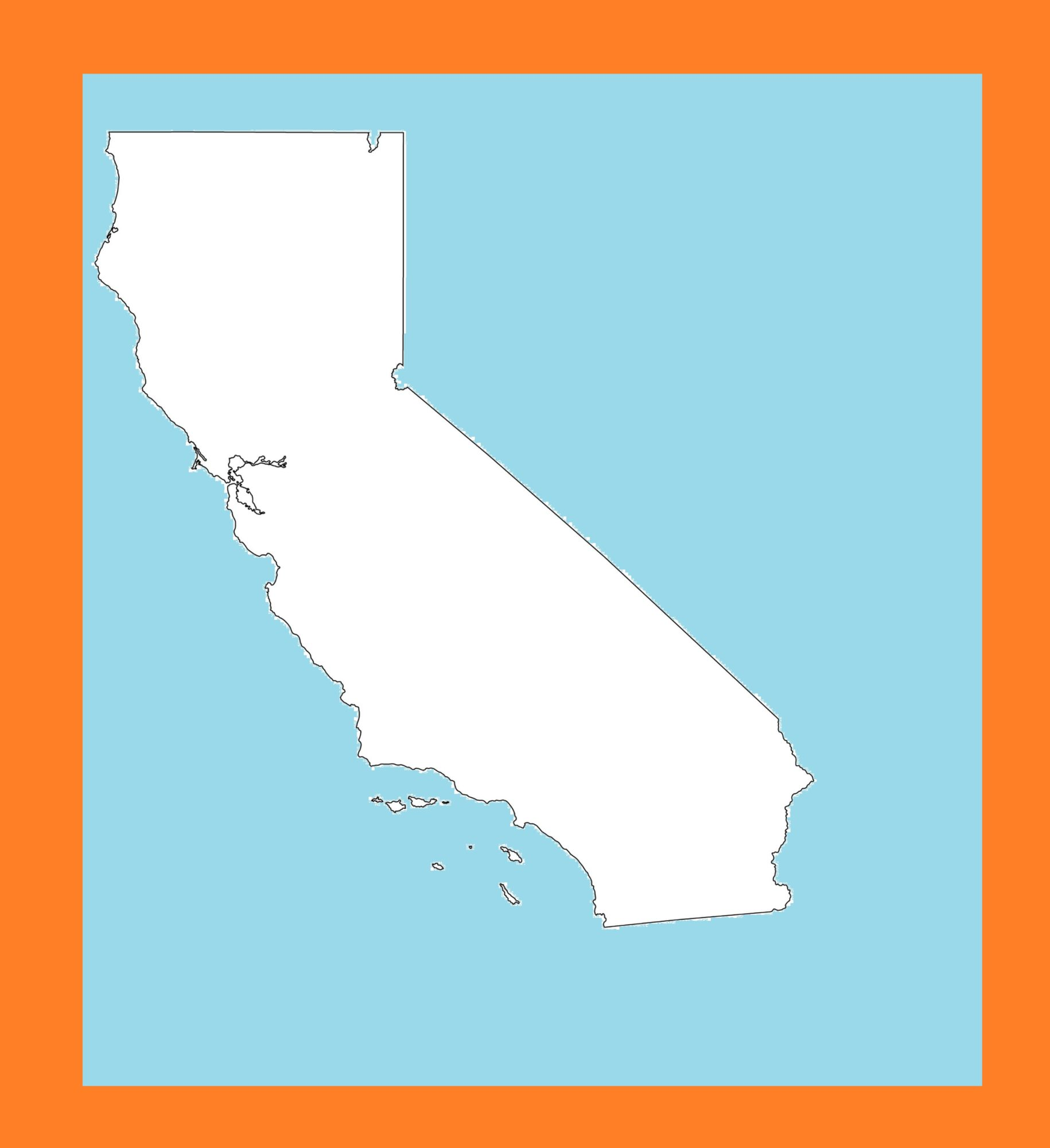 California Blank Outline  Map   Large Printable and Standard Map – 4