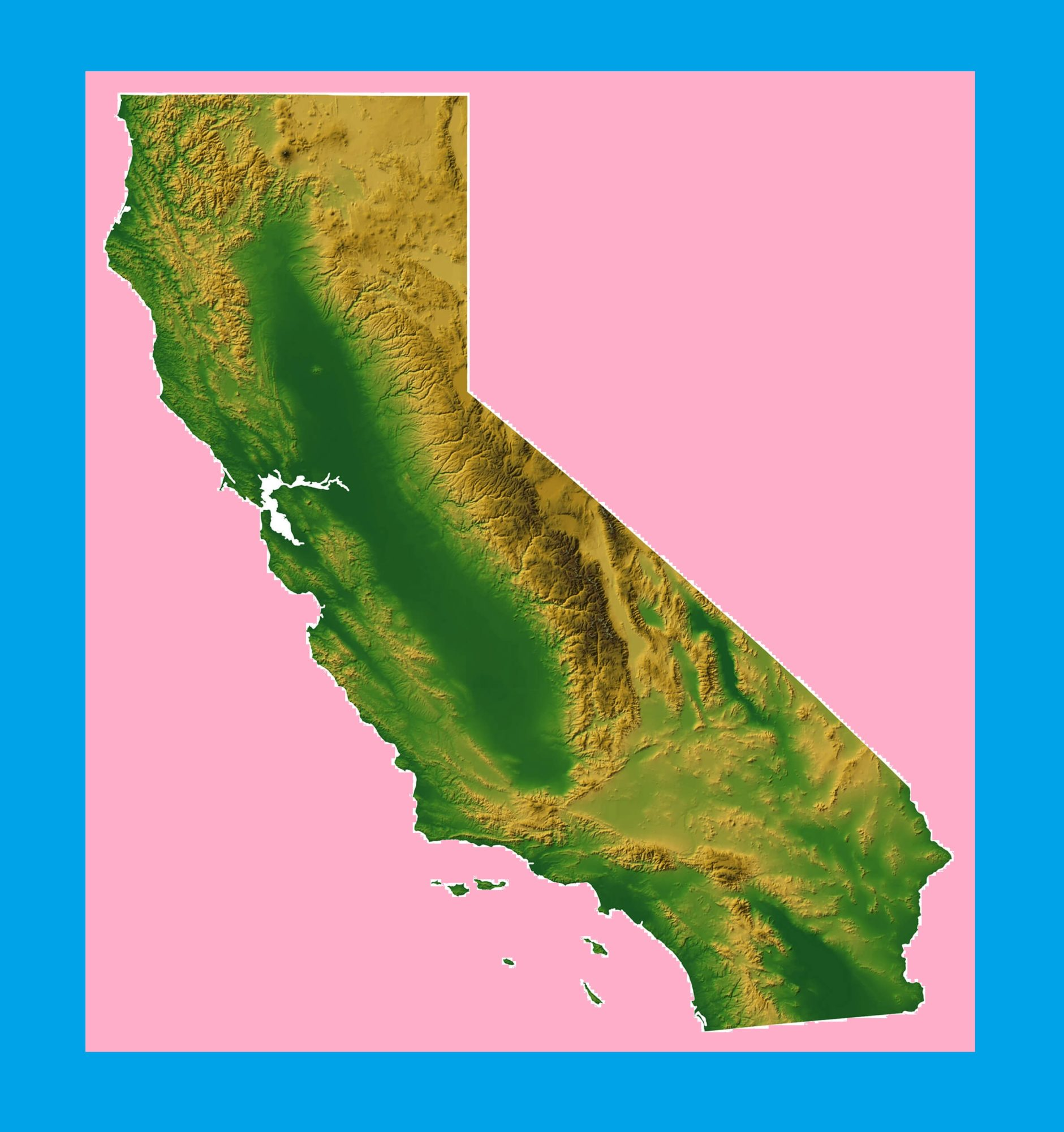 California Physical Map | Large Printable and Standard Map -3