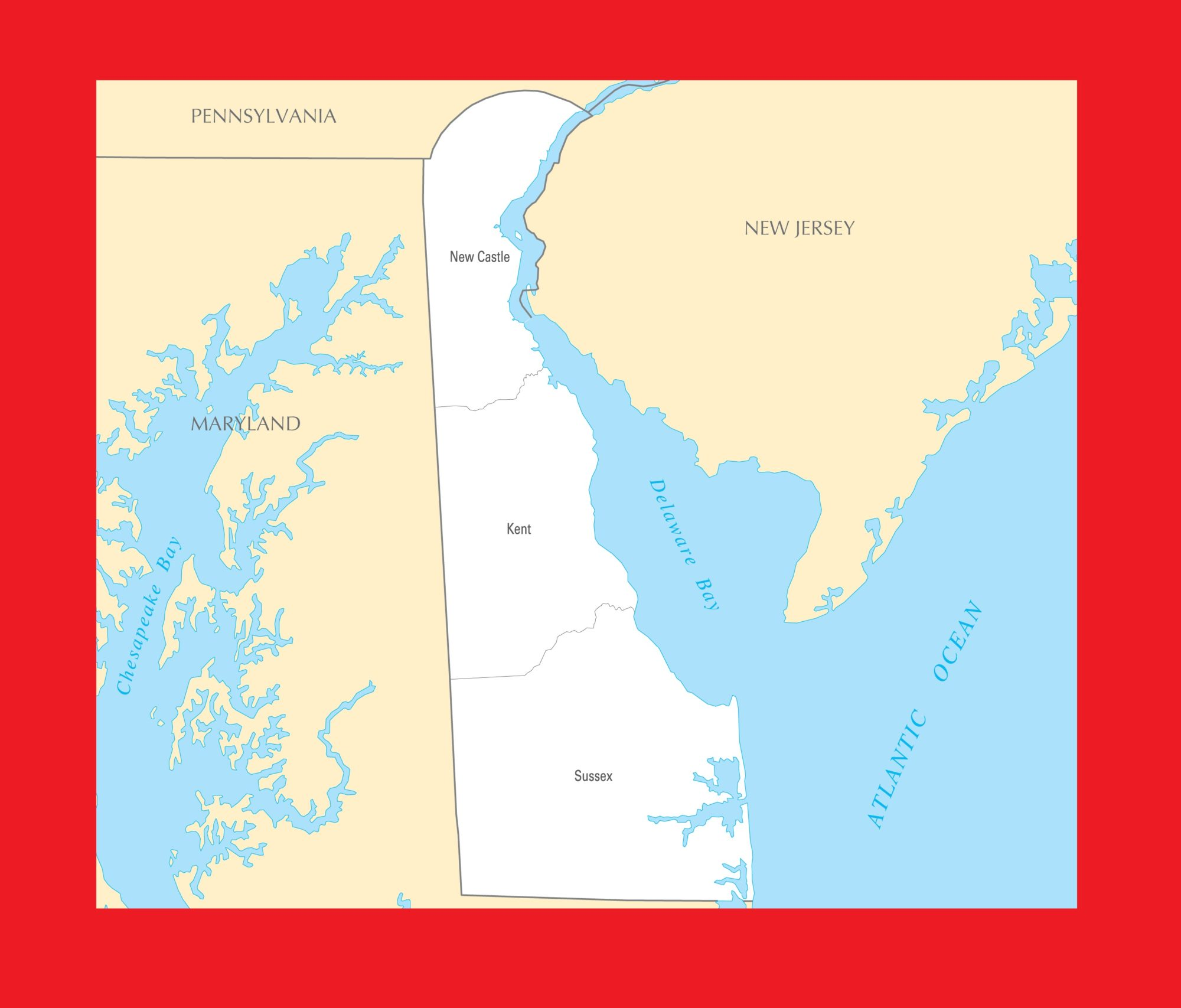 Delaware County Map   Large Printable and Standard Map