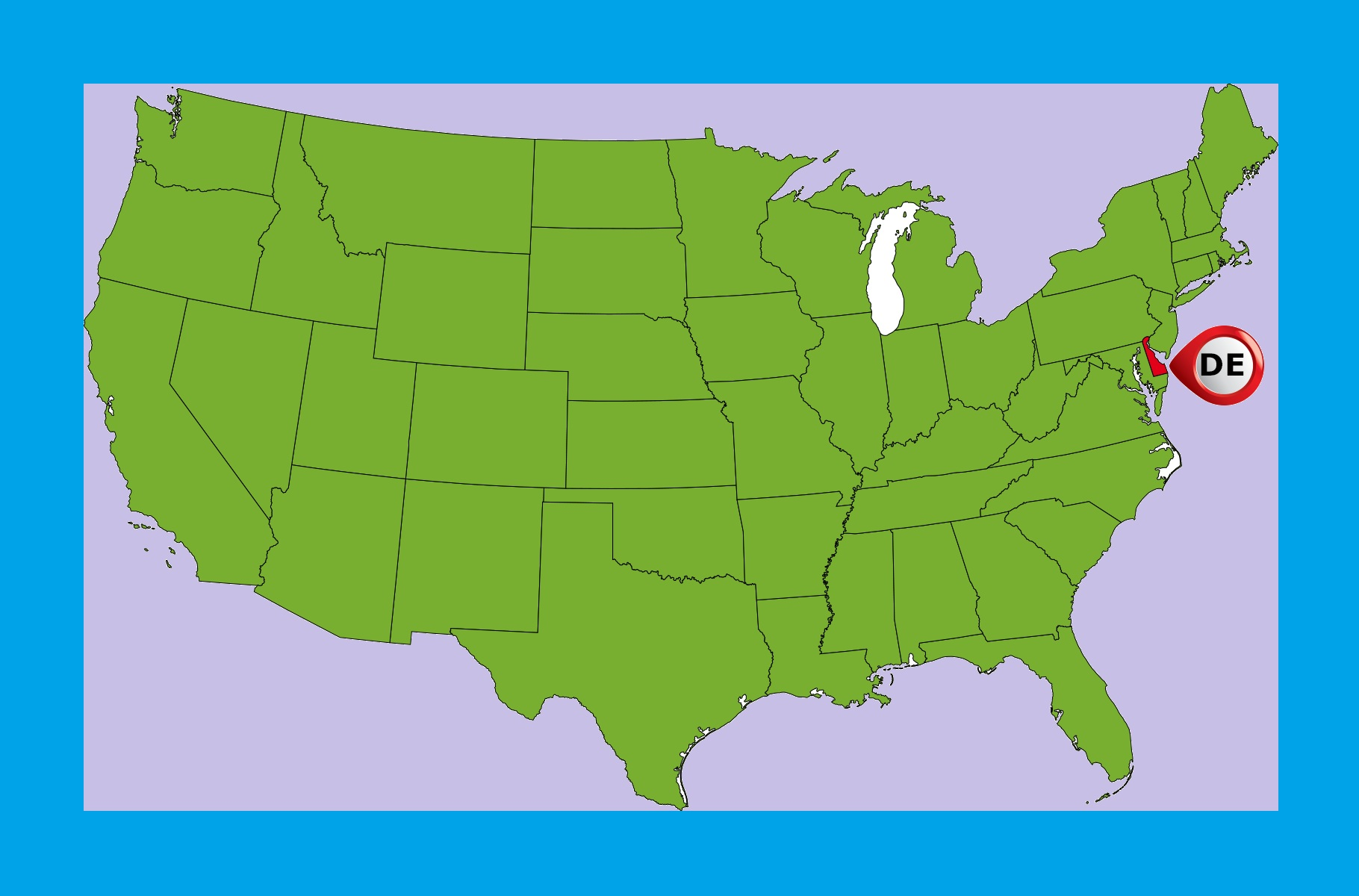 Delaware Location Map   Large Printable and Standard Map