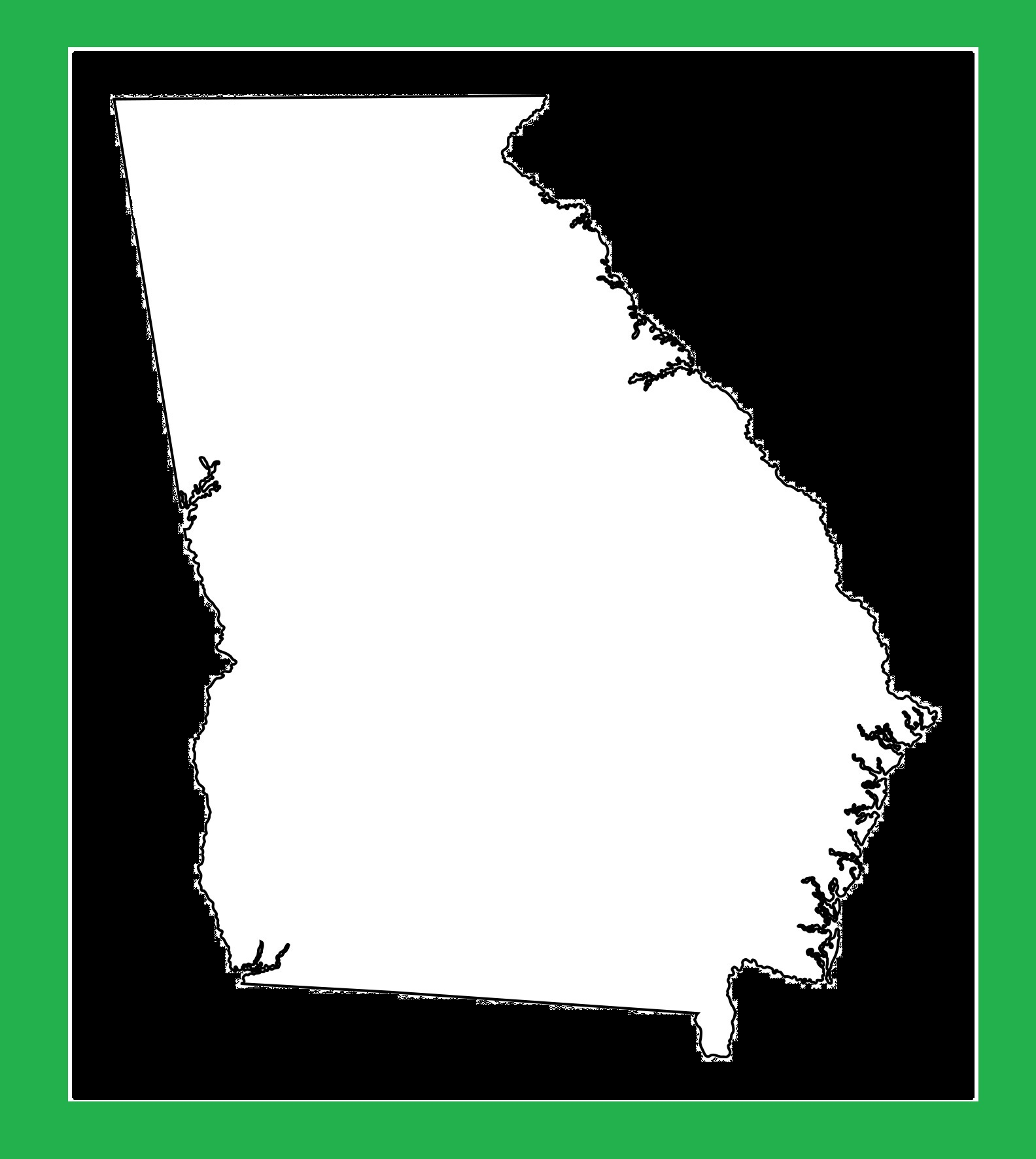 Georgia Blank Outline Map   Large Printable and Standard Map 5