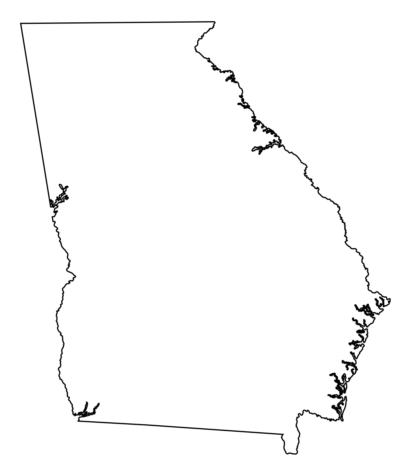 Georgia Blank Outline Map | Large Printable and Standard Map