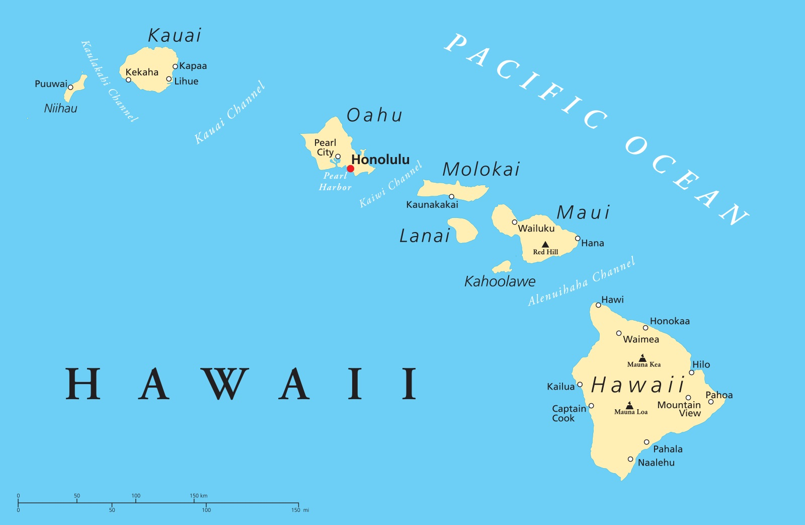 Hawaii Details Map | Large Printable and Standard Map
