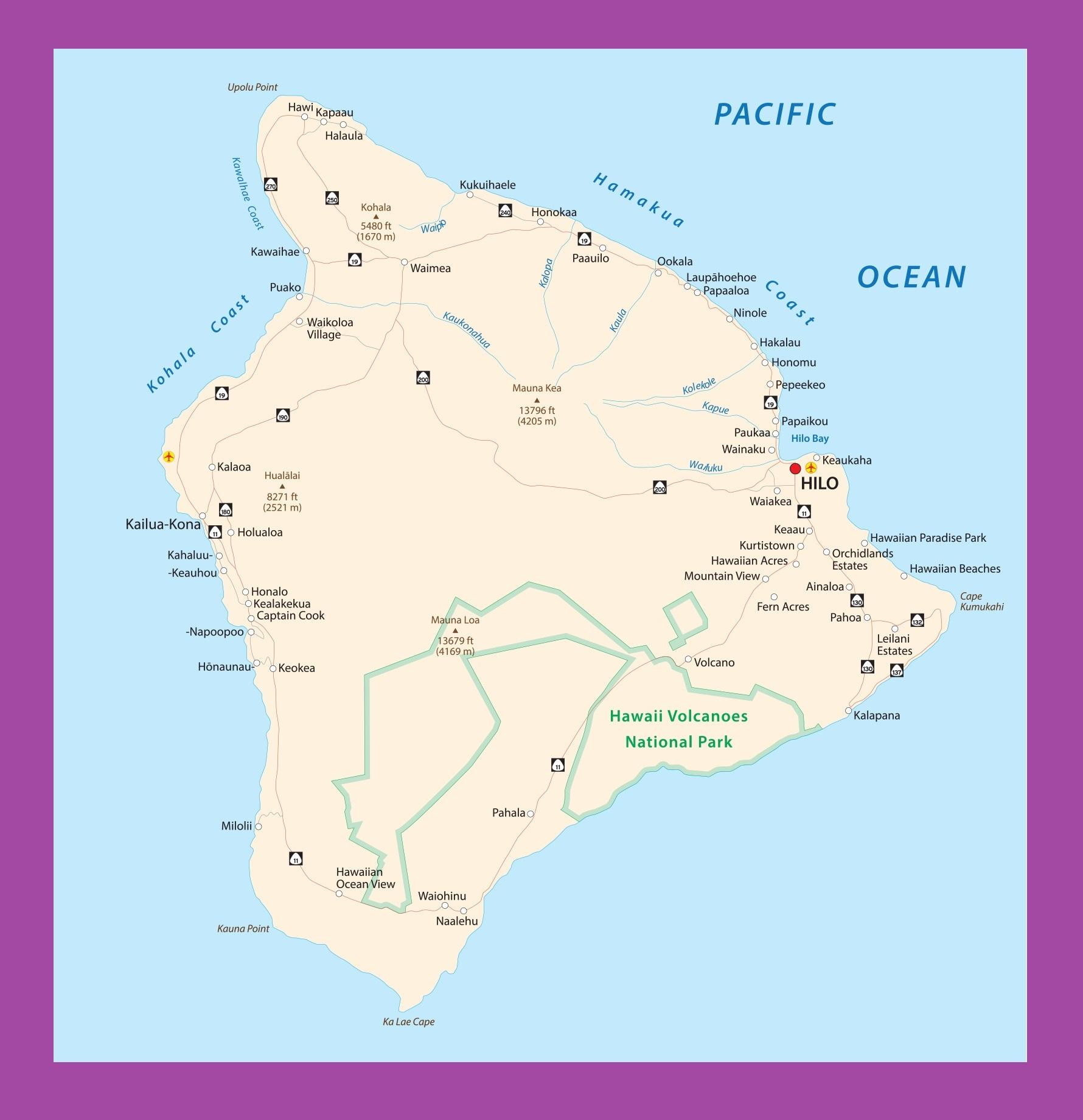 Hawaii Big Island Map | Large Printable and Standard Map 2