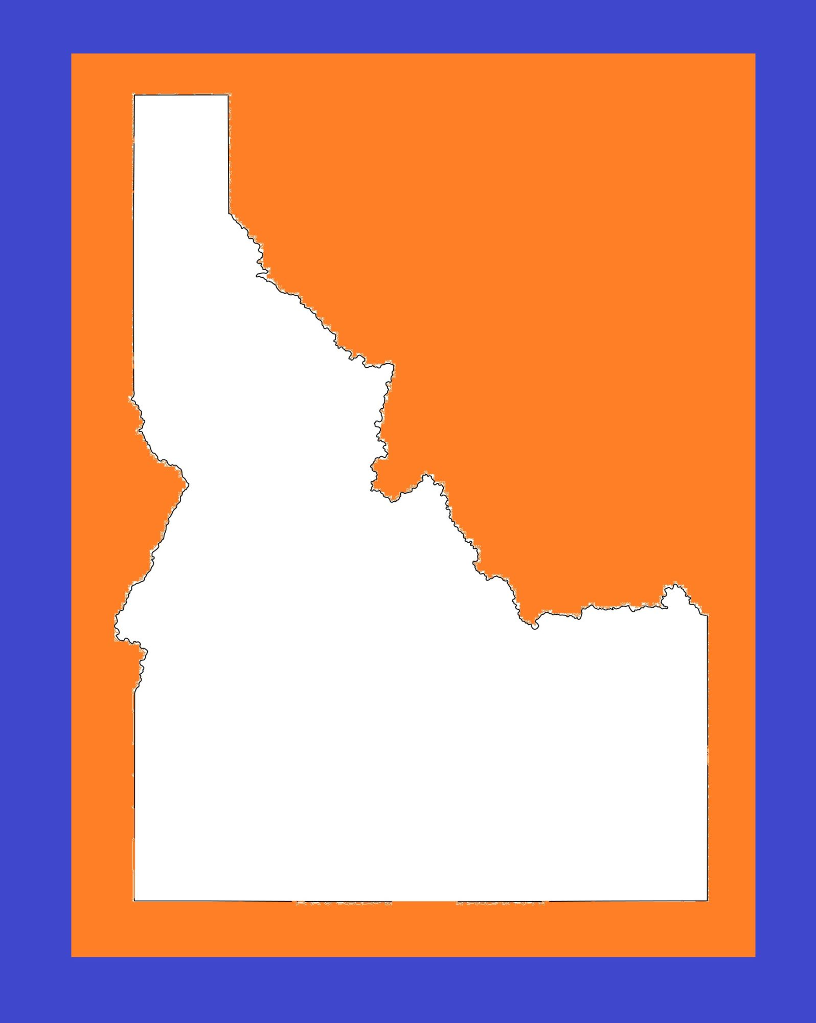 Idaho Blank Outline Map | Large Printable and Standard Map 3