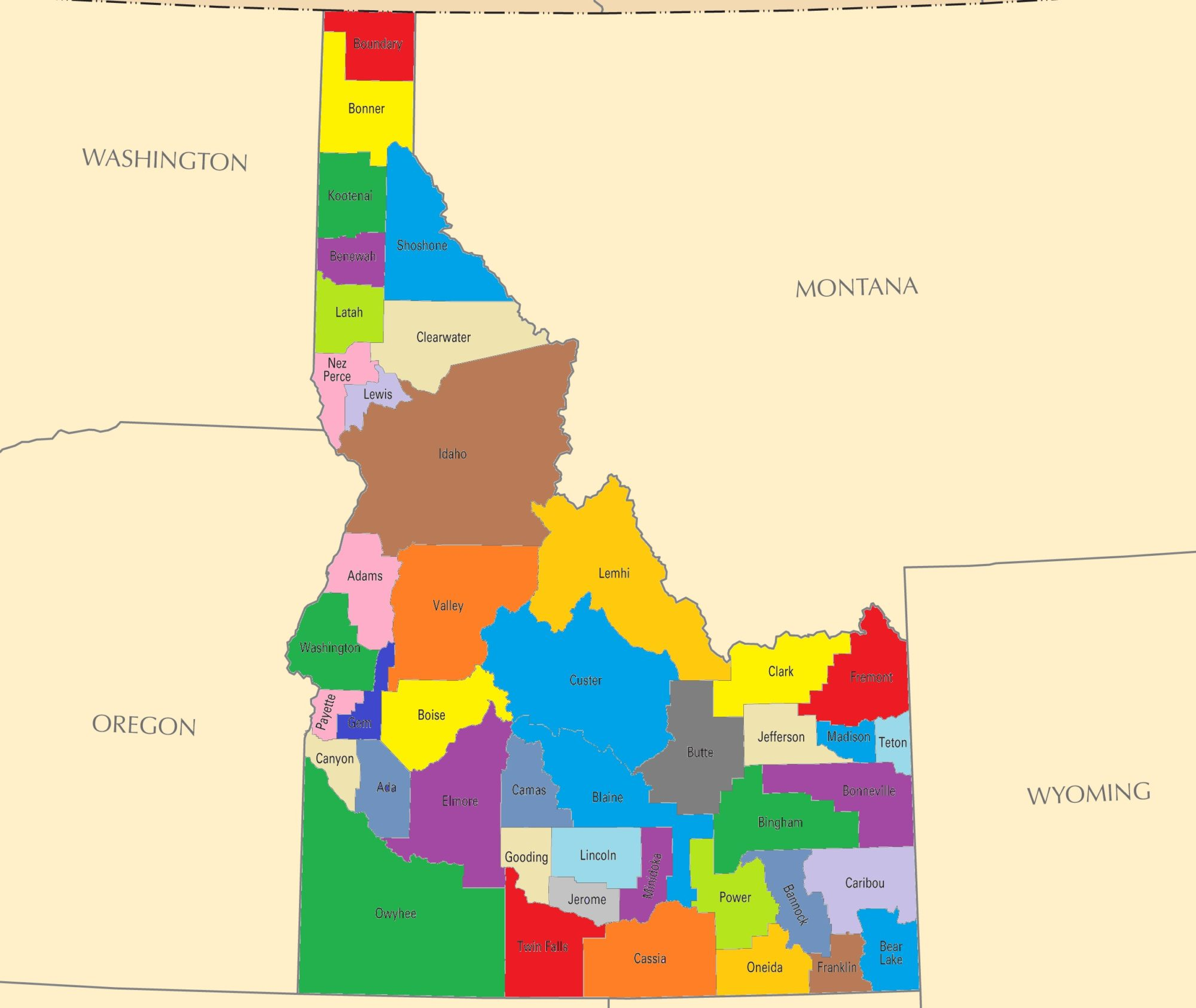 Idaho County Map | Large Printable and Standard Map 2
