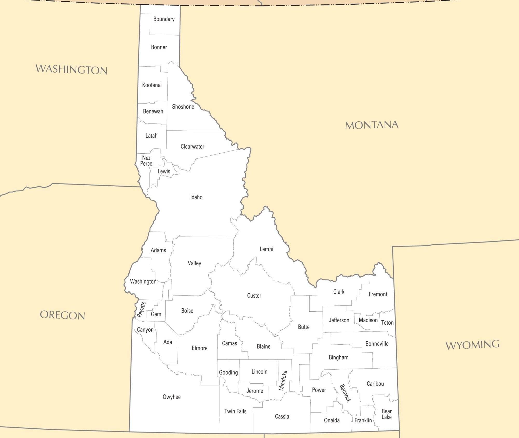 Idaho County Map | Large Printable and Standard Map 4