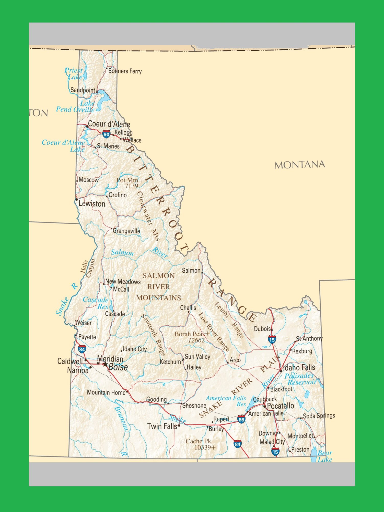 Idaho Political Map | Large Printable and Standard Map