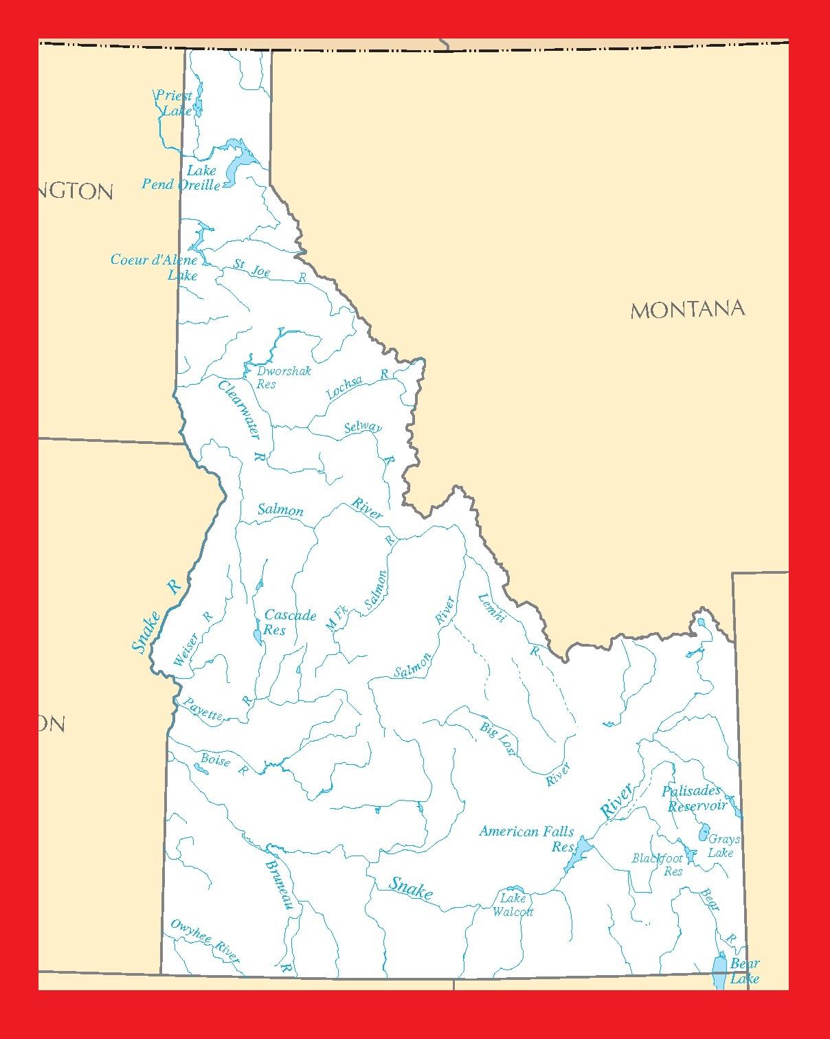 Idaho River Map | Large Printable and Standard Map