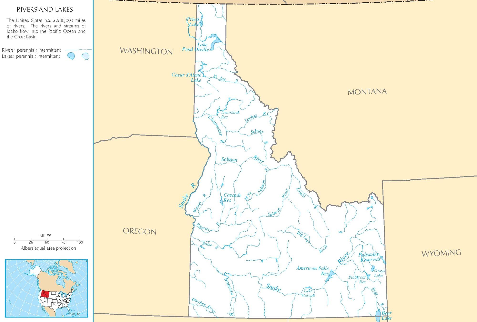 Idaho River Map   Large Printable and Standard Map