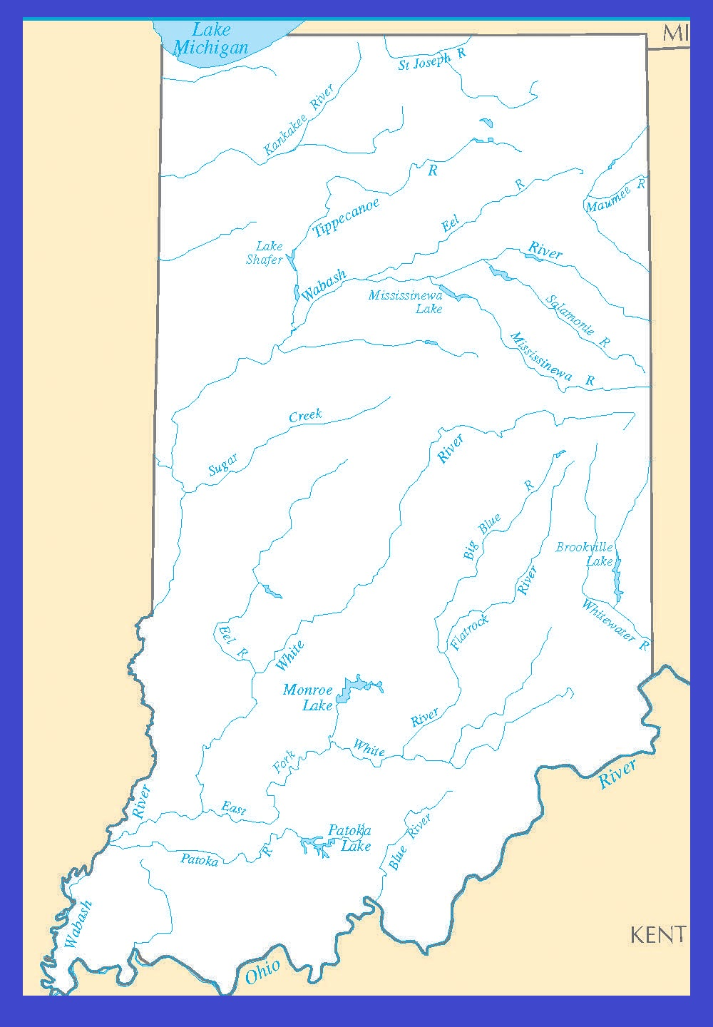 Indiana Rivers Map | Large Printable High Resolution and Standard Map
