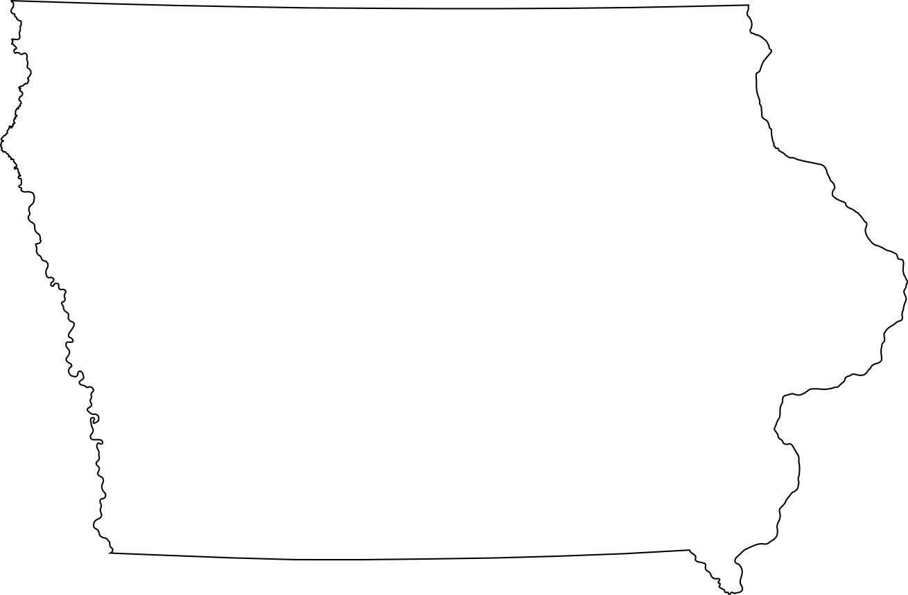 Iowa blank outline Map | Large Printable High Resolution and Standard Map