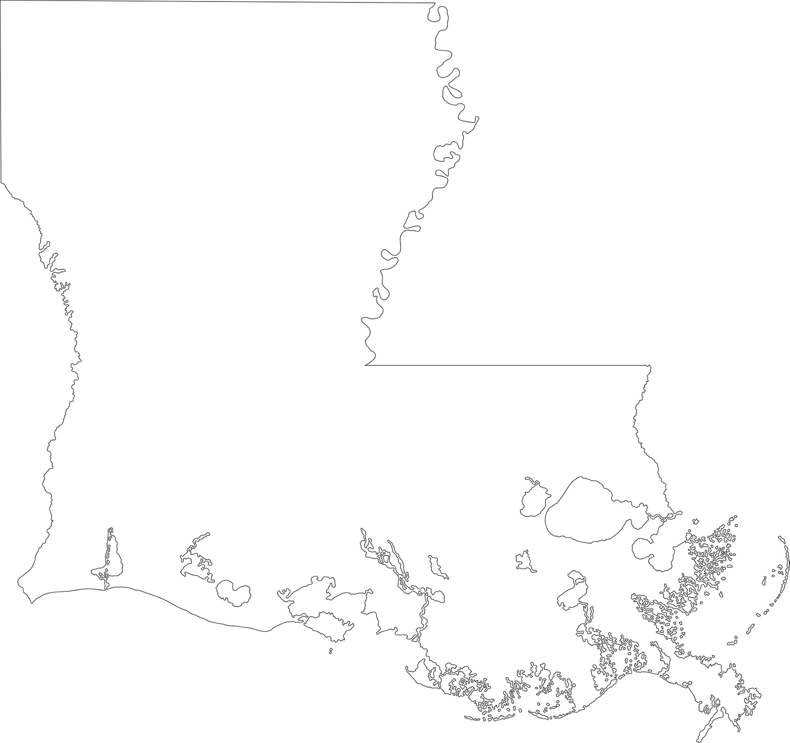 Louisiana blank outline Map | Large Printable High Resolution and Standard Map