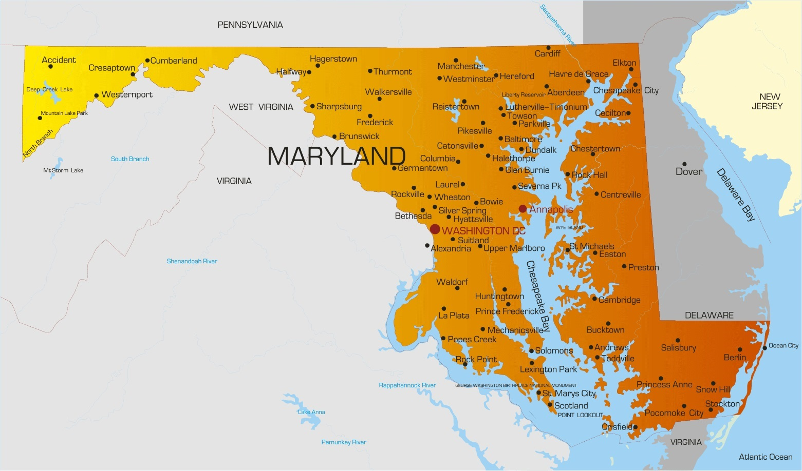 Maryland City Map | Large Printable High Resolution City Map