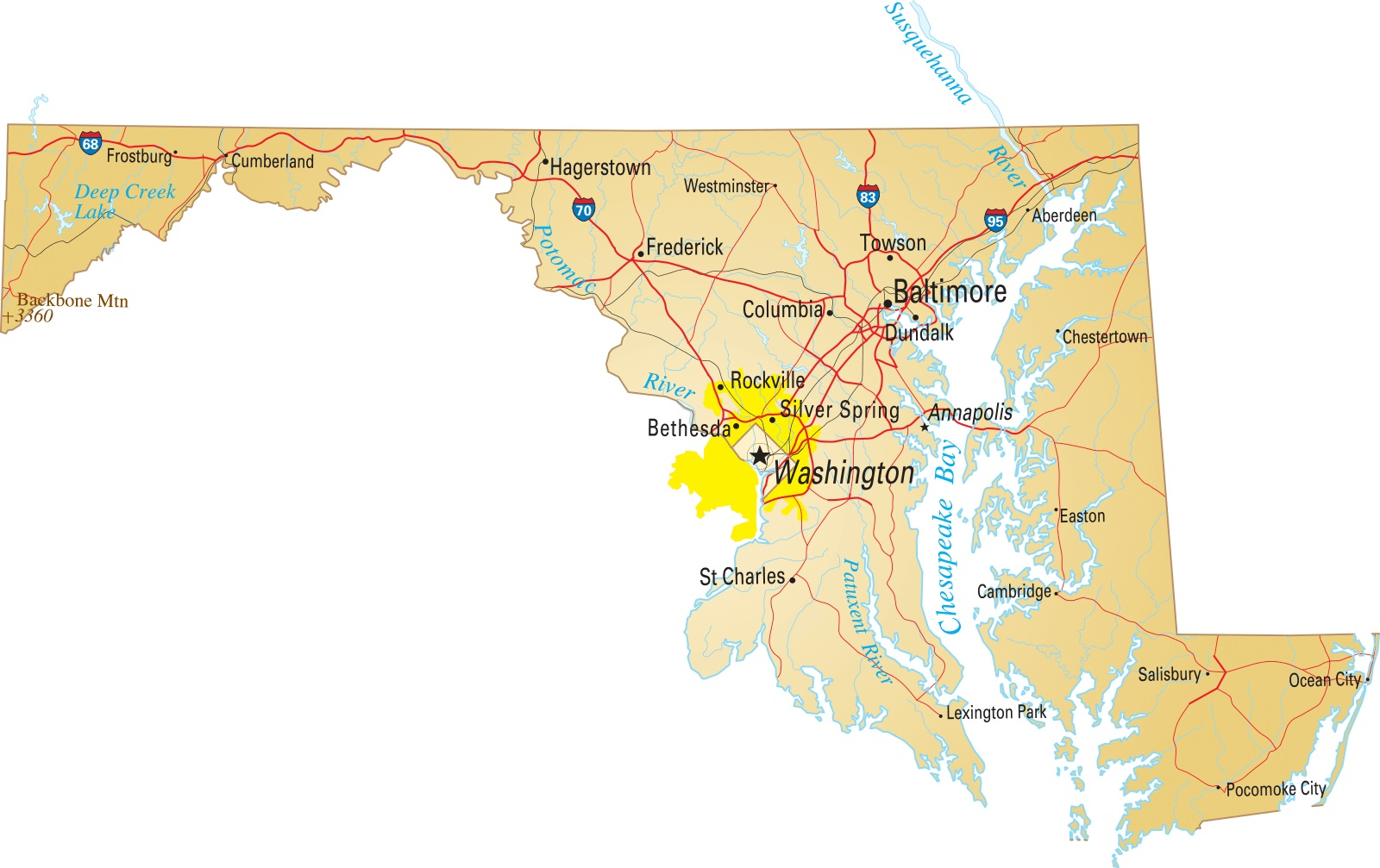 Map of Maryland | Political, County, Geography, Transportation, And Cities Map