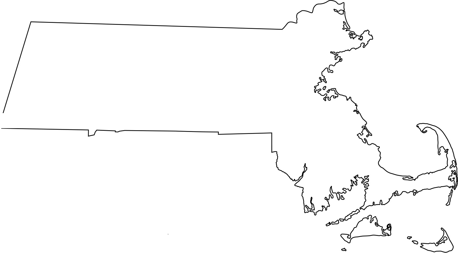 Massachusetts blank outline Map | Large Printable High Resolution and Standard Map