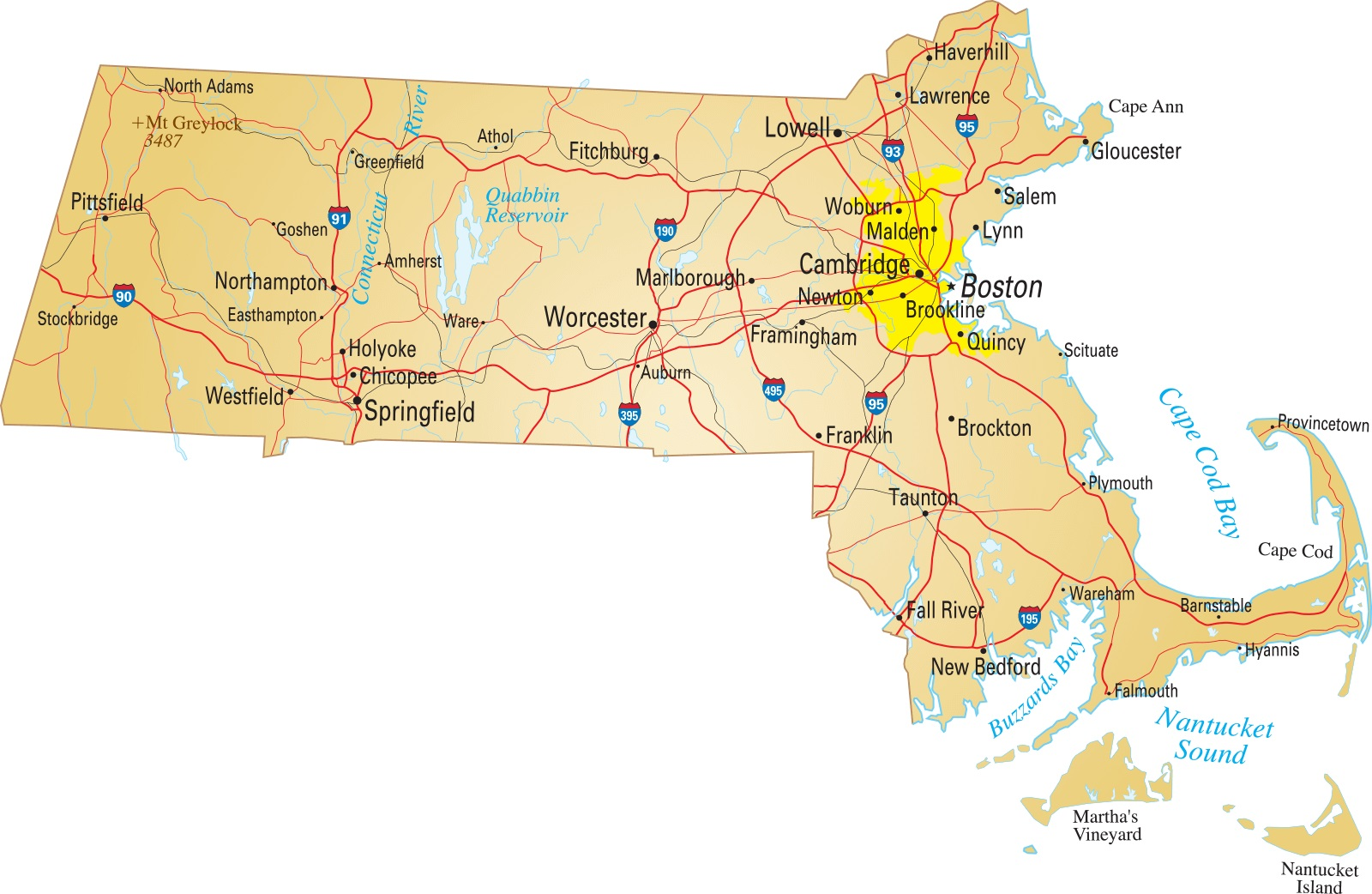 Map of Massachusetts | Political, County, Geography, Transportation, And Cities Map