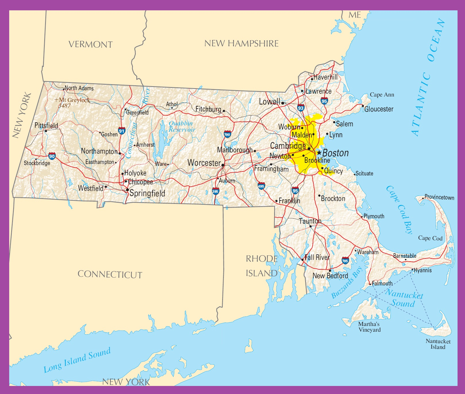 Massachusetts Political Map | Large Printable High Resolution and Standard Map
