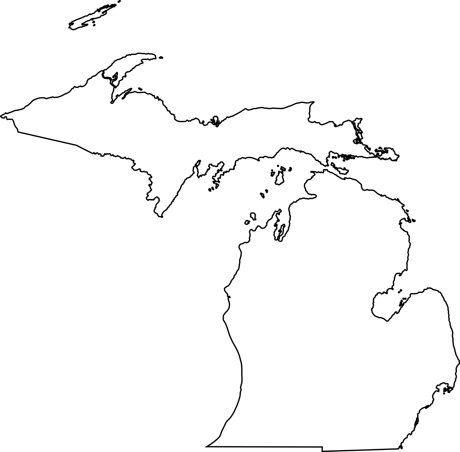 Michigan blank outline Map | Large Printable High Resolution and Standard Map