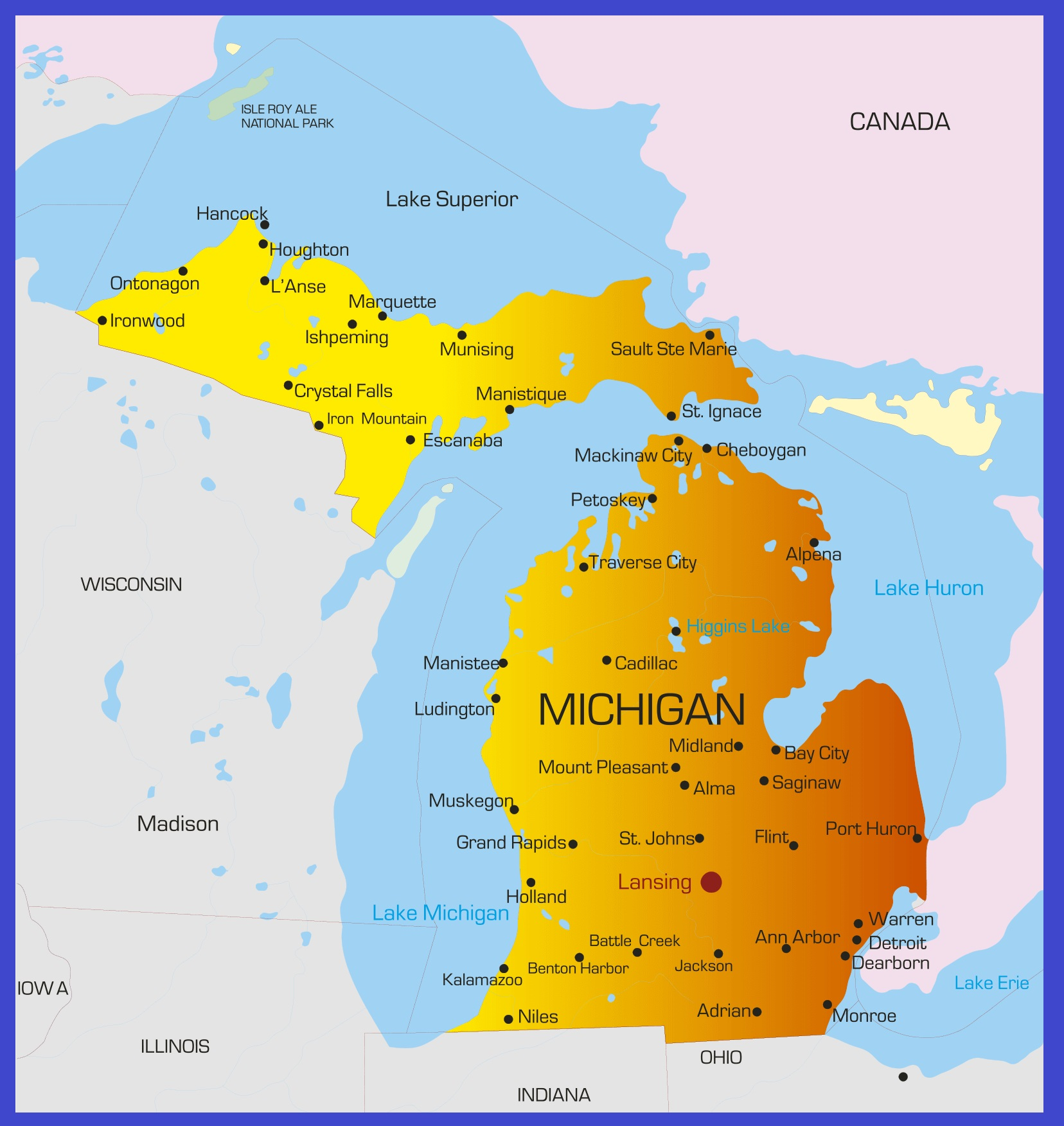 Michigan Detailed Map | Large Printable High Resolution and Standard Map
