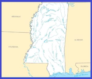 Mississippi Rivers Map | Large Printable Rivers Map of Mississippi