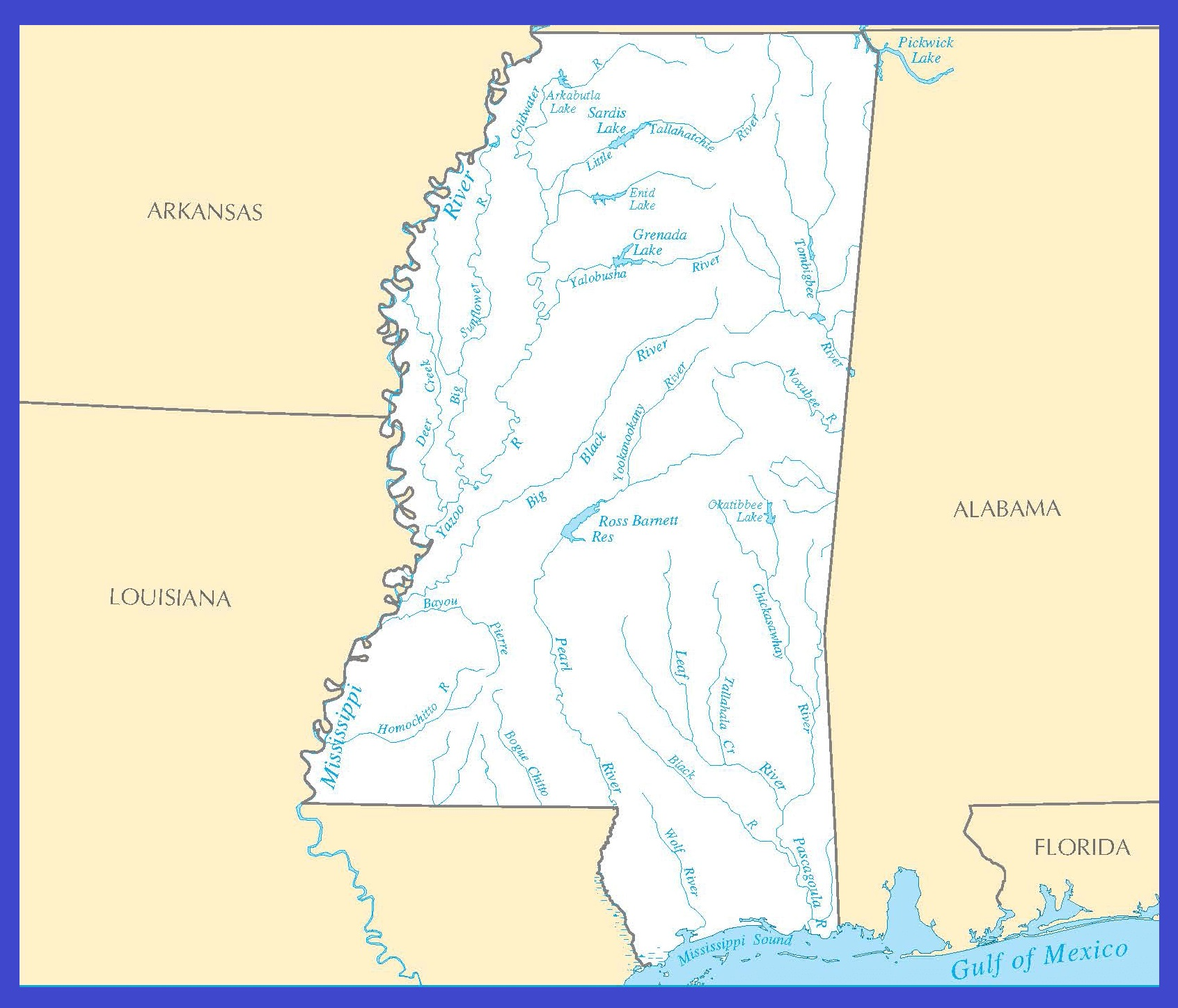 Mississippi Rivers Map | Large Printable High Resolution and Standard Map