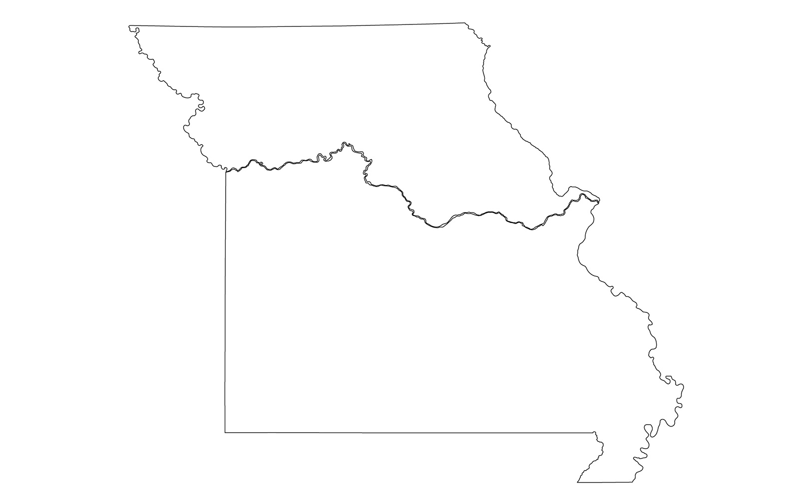 Missouri blank outline Map | Large Printable High Resolution and Standard Map
