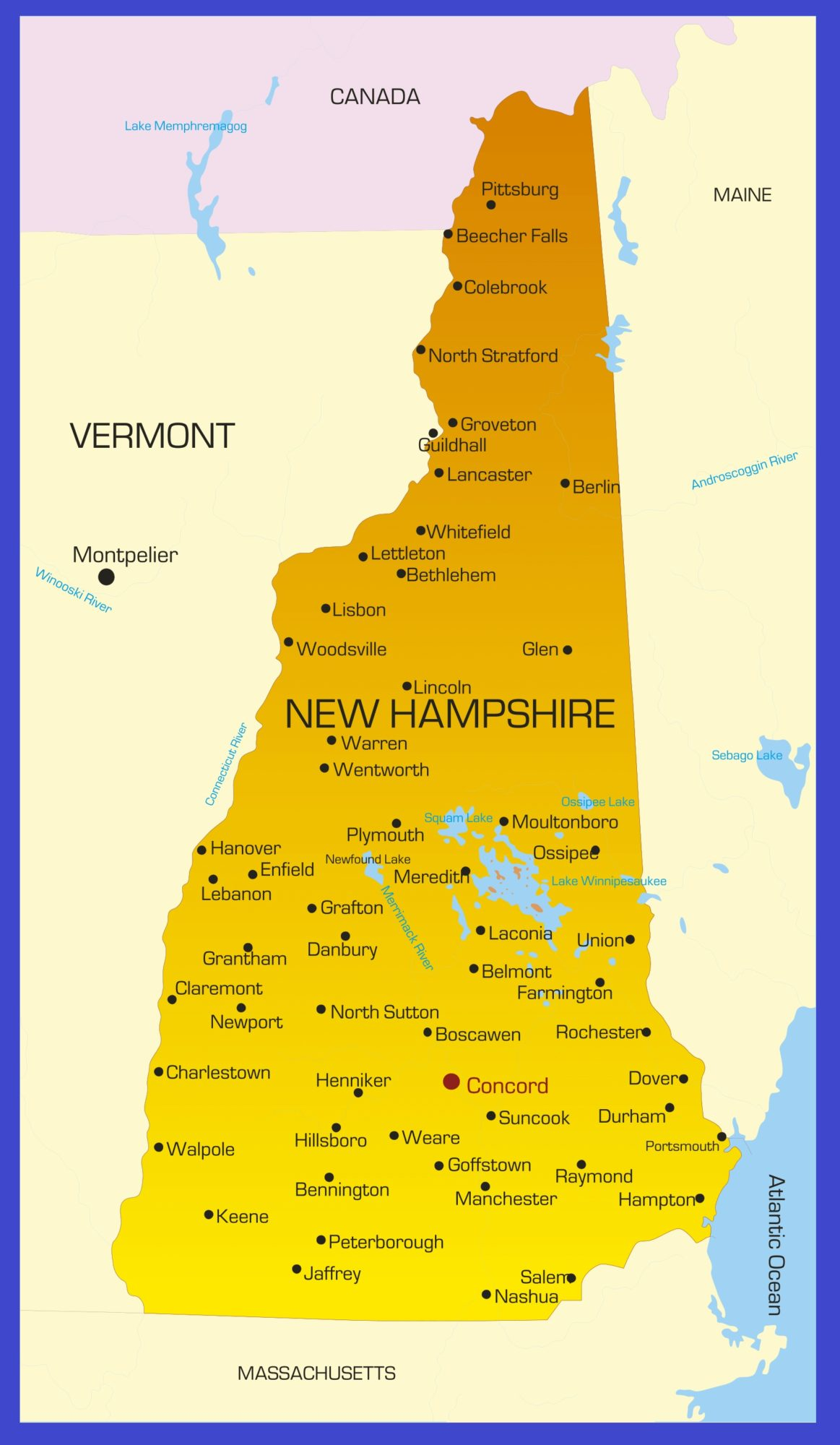 New Hampshire Details Map   Large Printable High Resolution and Standard Map