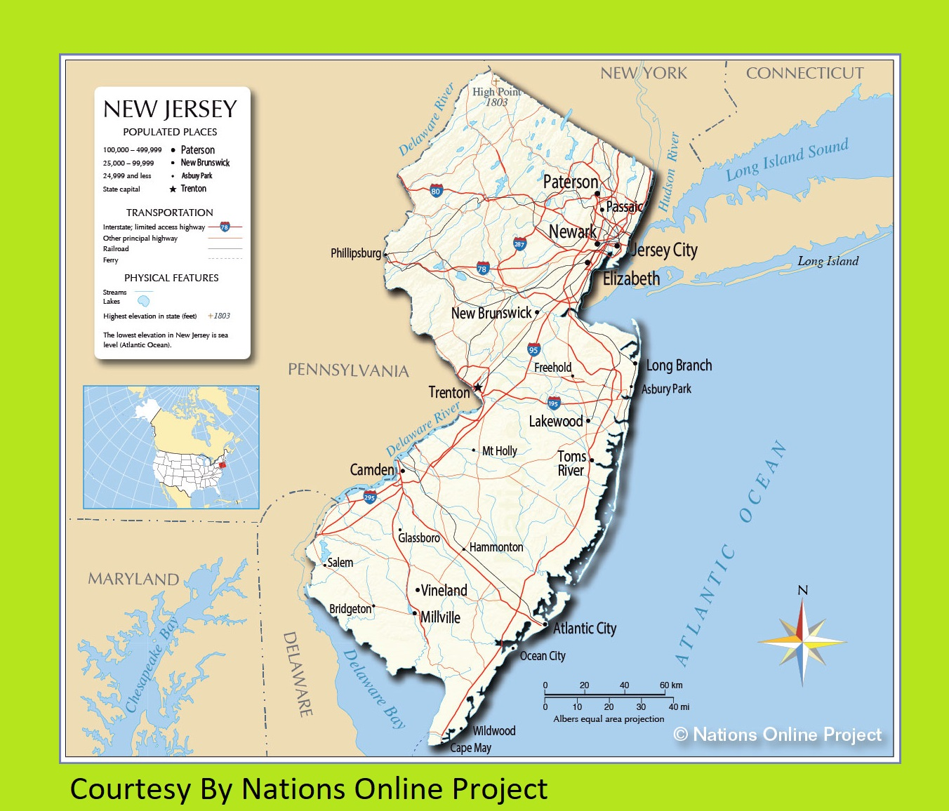 New Jersey Transportation and physical map large printable