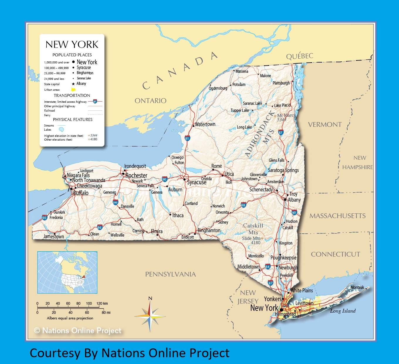 New York Transportation and physical map large printable