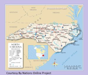 North Carolina Transportation and physical map large printable