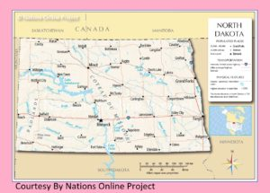 North Dakota Transportation and physical map large printable