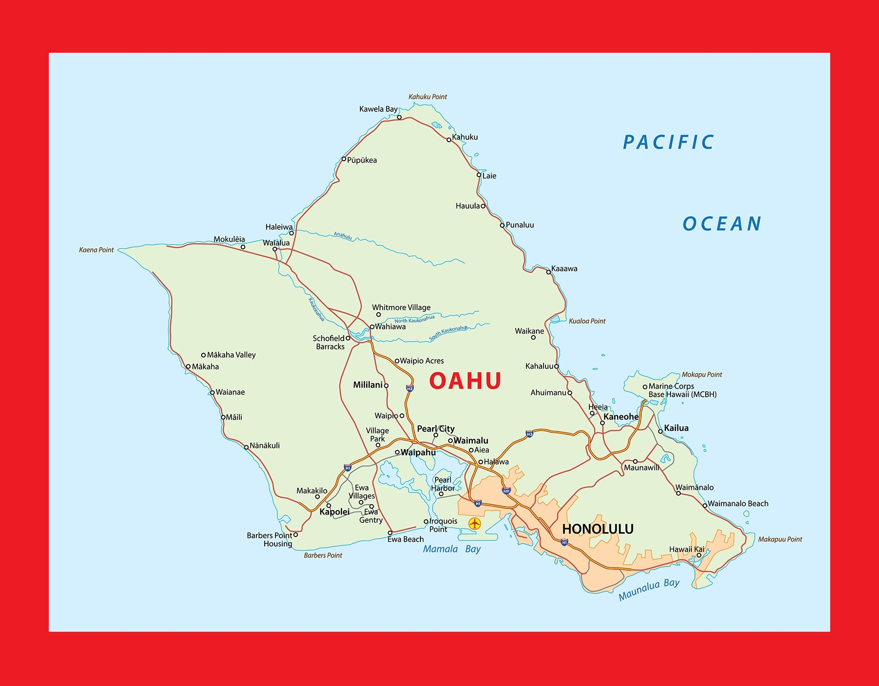 Hawaii Oahu Island Map | Large Printable and Standard Map