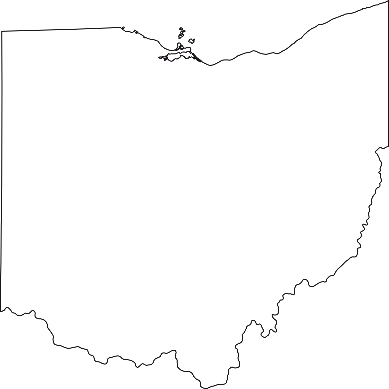 Ohio blank outline Map | Large Printable High Resolution and Standard Map