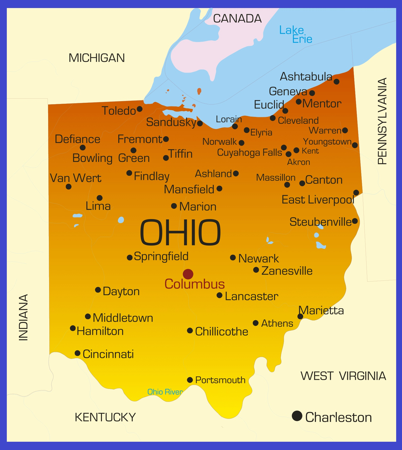 Ohio Details Map   Large Printable High Resolution and Standard Map