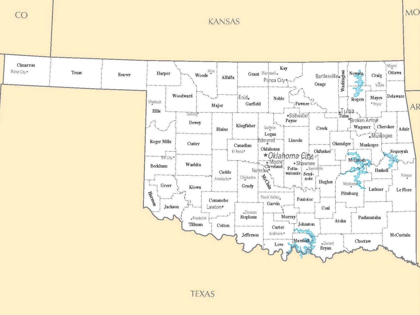 Oklahoma Cities Map | Large Printable High Resolution and Standard Map