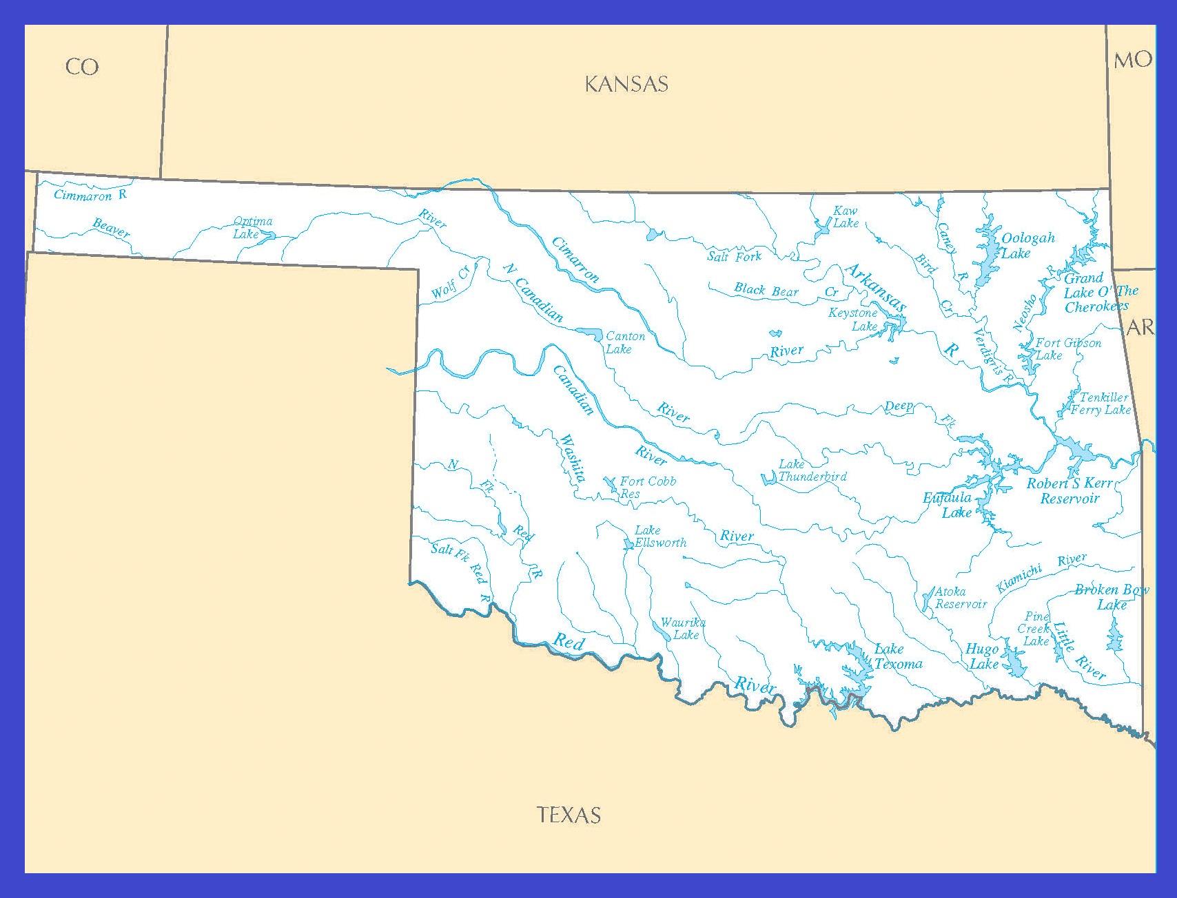 Oklahoma Rivers Map   Large Printable High Resolution and Standard Map