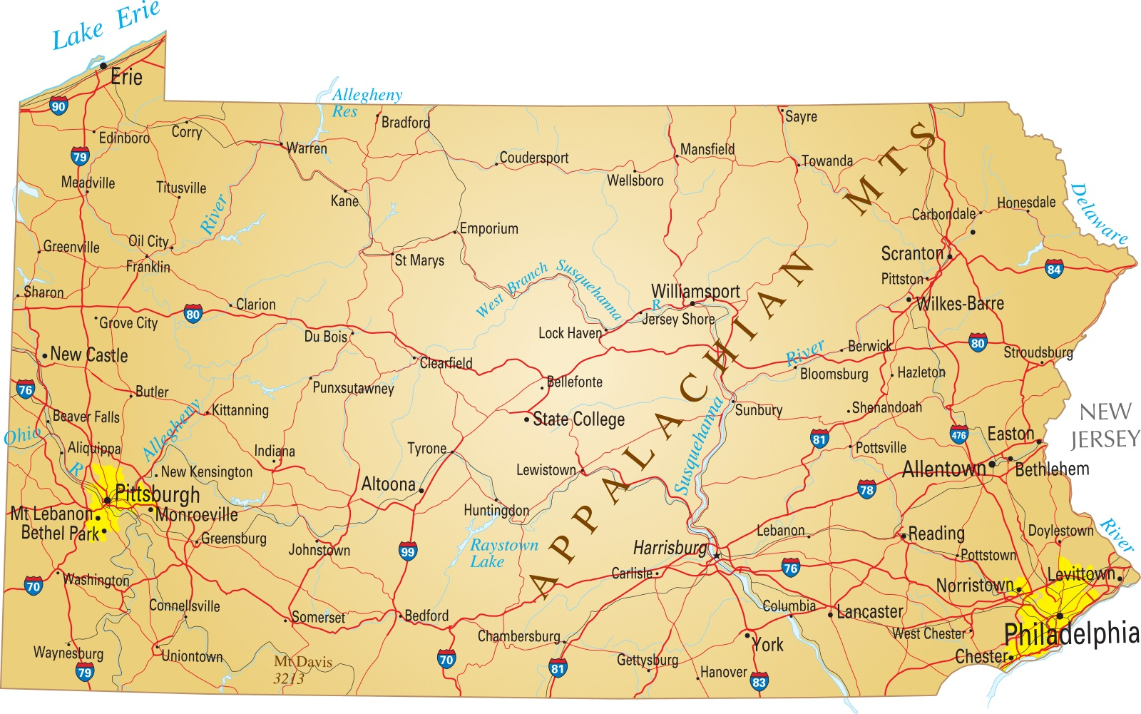 Pennsylvania Details Map | Large Printable High Resolution and Standard Map